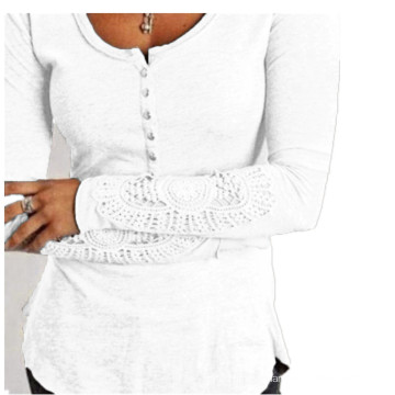 Fashion Lace Sleeve Round Collar Slim Women′s T Shirts