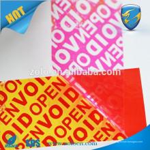 Impresión personalizada etiqueta de embalaje etiqueta de garantía vacío si está abierto