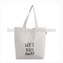 Promotional recycled cotton tote shopping beach bag