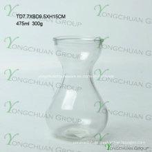 Moderne handgemachte Glasvase / handgemachte klare Glasblume Chearper Maschine gepresstes freies Glas Blumen-Vase