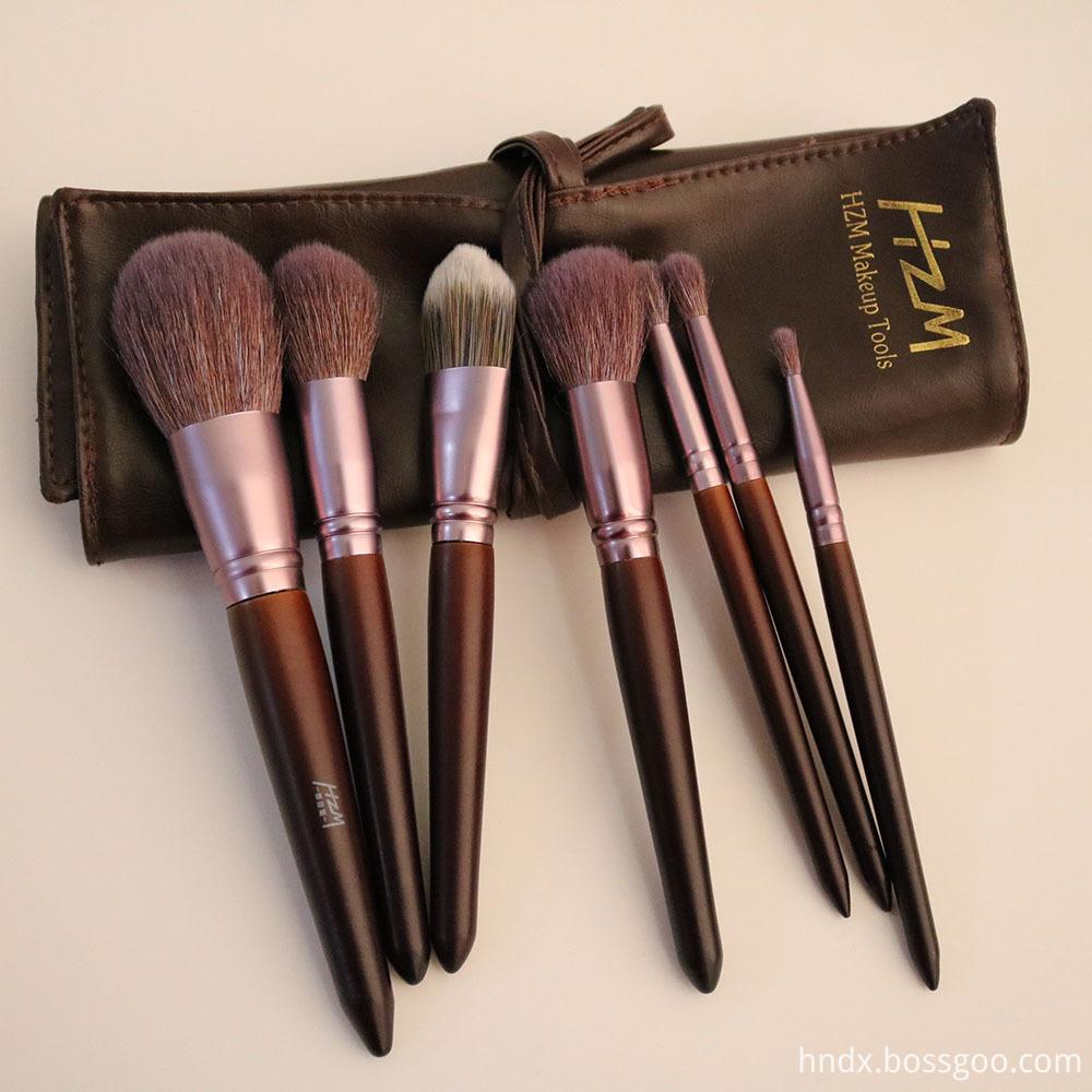 7PCS Goat Hair Wood Handle Makeup Brush 9