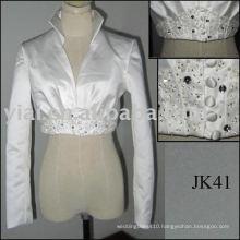 JK40 Real Sample Satin Long Sleeves Wedding jacket
