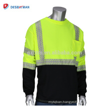 Customized Mens High Visibility Safety T-Shirt Various Size Neon Yellow Green O-Neck Construction Work Tee Shirts Long Sleeve