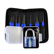 Голубой прозрачный практика замок с холщовым мешком 15шт инструменты Взлом Чехол синий кремния (комбинированный 6-3)