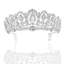 Elegant blue crystal rhinestone wedding crown