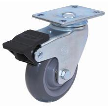 Roulette pivotante PU avec double frein (gris)