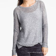 15JWS0516 lady spring summer crewneck pullover with sequins