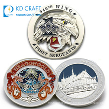 Made in china custom design your own metal zinc alloy colorful enamel silver plated 3D dragon challenge coin for souvenir