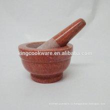 10 * 9см красный натуральный камень мрамор ступка и пестик / травяная мельница / инструмент для специй