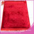 3D Luxury visón Velvet Islamic Prayer Rug-Red