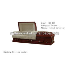 mahogany veneer wooden casket with adjustable bed
