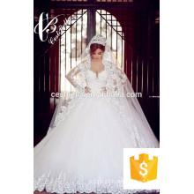 2017 nova chegada vestido de bola de cristal de árabe vestido de noiva com heavy diamond 2M de trem longo