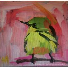 Pintura al óleo verde del pájaro