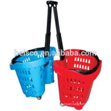 Rolling hand basket shop basket with castor plastic basket with wheel
