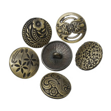 Fashionable Buttons With Bronze Flower Decorative Pattern