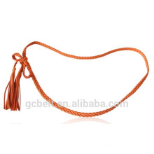 woman and lady Cheap Fashion microfiber and PU braided belt for cloth