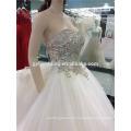 100% Real Photos Custom Made Luxurious V- Neck Open Back Heavily Crystals Beaded Long Train Saudi Arabian Wedding Dress A097