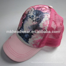 girls cute 4 panel polyester trucker cap with sublimation printing logo