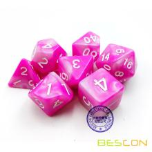 Bescon Gemini Polyhedral Dice Set Pink Blossom, Two-tone RPG Dice Set of 7 d4 d6 d8 d10 d12 d20 d% Brick Box Pack
