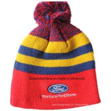 Logotipo personalizado bordado de lã de acrílico esqui inverno esportes quente chapéu de malha beanie