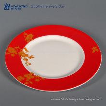 Red Painting 10 Zoll Keramik Geschirr Platte