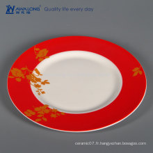 Peinture rouge Plaque en céramique de 10 pouces