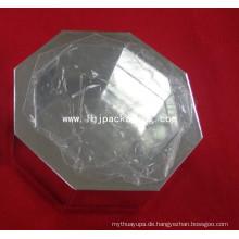 High End Octangle Verpackung Silber Geschenk Papier Box mit Kunststoff Fenster