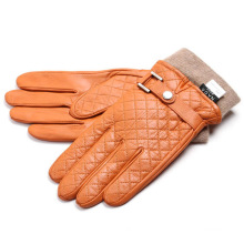 Men′s Fashion Cashmere Lining Goatskin Leather Winter Warm Gloves (YKY5194)