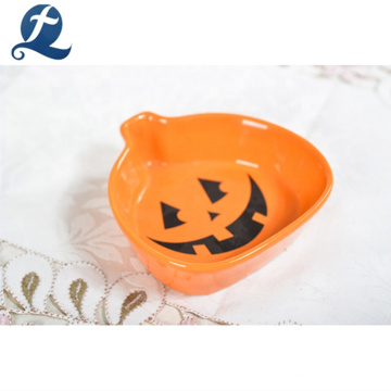 Halloween Party Logo personnalisé Decal Pumpkin Shape en céramique plat de fruits
