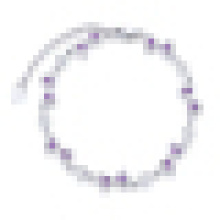 Frauen 925 Sterling Silber unregelmäßige herzförmige lila Kristall Armband