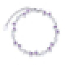 Bracelet en cristal violet en forme de coeur irrégulier en argent sterling pour femme