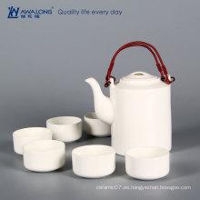 Conjunto de té chino de elegancia blanca pura taza de té de hueso china y olla