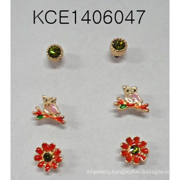 Set Metal Earring with Owl, Flower