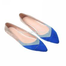 As mulheres quentes da cunha da venda quente 2014 calçam sapatas graciosas sapata azul da bailarina