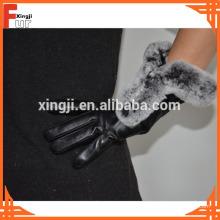 Rex Rabbit Fur Trimmed Leather Guantes