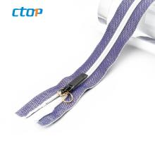 2019 new wholesale revers fancy custom airtight invisible zipper long chain zipper factory nylon reverse zipper