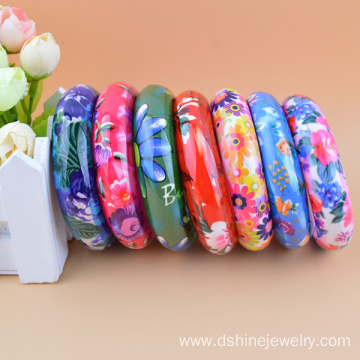 Hard Wide Wholesale Colorful Flower Printed Plastic Bangles