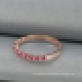 Bague en argent sterling 925 Bague en or rose avec diamants et corindon