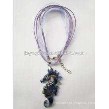 Regalo de la promoción Collar pendiente del vidrio de Lampwork Collar del vidrio de Lampwork colgante de la iluminación pendiente de cristal con el cable de cera