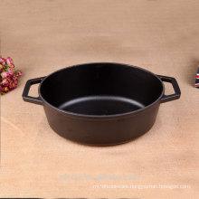 Oval Stew Pot Cast Iron Casserole Black Matt Enamel