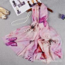 A borboleta da dupla camada da forma imprimiu o lenço de seda chinês com lãs para a senhora