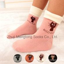 Comfortable Cuff Cartoon Kid Cotton Socks with Turn Cuff