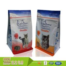 Sac d'emballage alimentaire de chat de dessus de zipper de papier d'aluminium de fond plat imprimé par logo fait sur commande avec le gousset latéral