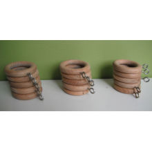 27mm Light Wood Color Wooden Curtain Hoops