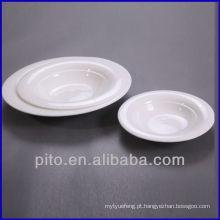 P & T prato de fábrica de porcelana profunda, placa de salada, prato de servir
