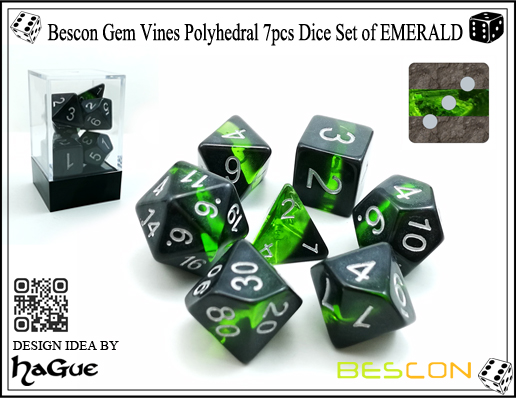 Bescon Gem Vines Polyhedral 7pcs Dice Set of EMERALD-1