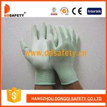 Nylon Liner Knit Wrist Green PU Coated Gloves (DPU165)