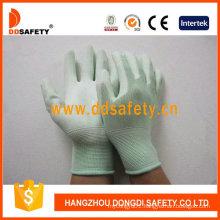 Nylon Liner Knit Wrist Green PU Coated Gloves Dpu165