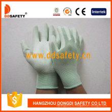 Вкладыш нейлона запястье руки Knit зеленый PU покрытием перчатки Dpu165
