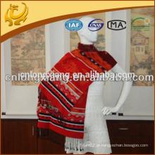 China Factory Wide Pashmina Style 100% seda Jacquard cachecol e xale atacado para senhoras